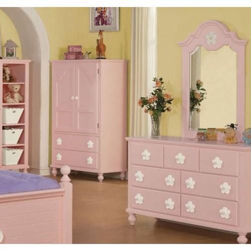 Acme Furniture Floresville Pink TV Armoire with White Flower Hardware