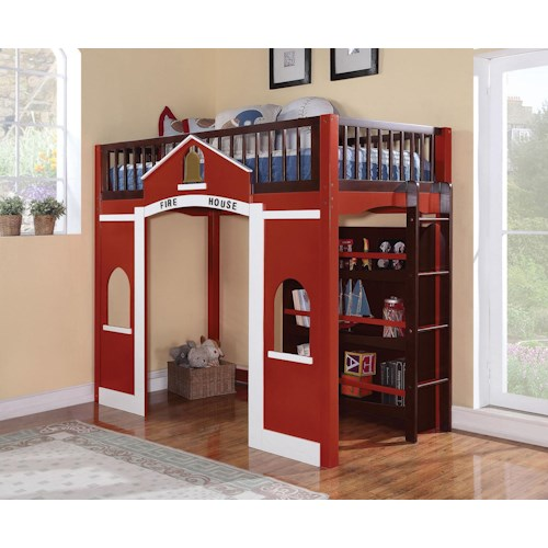 Acme Furniture Fola Fire House Loft Bed with Bookcase