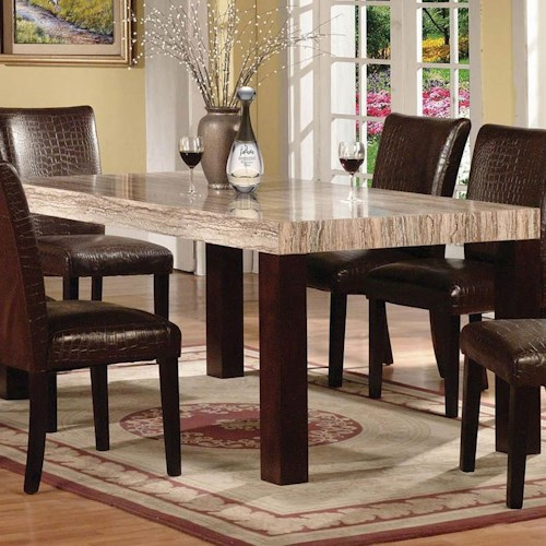 Acme Furniture Fraser Rectangular Leg Dining Table with Faux Marble Table Top