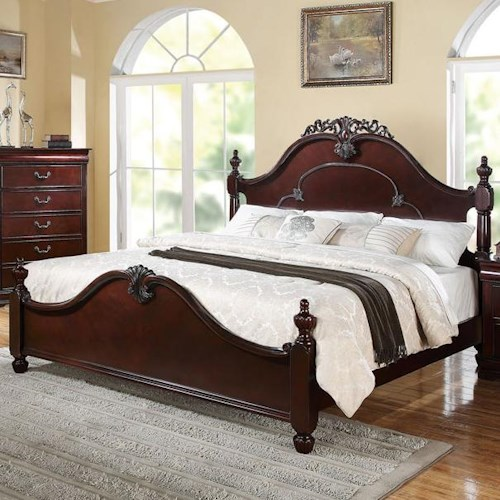 Acme Furniture Gwyneth California King Bed with Crown Carving