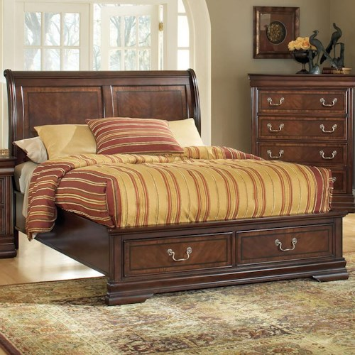 Acme Furniture Hennessy Traditional King Low Profile Storage Bed with Two Drawers
