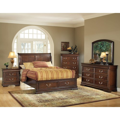 Acme Furniture Hennessy Queen Bed, Dresser, and Mirror Bedroom Group