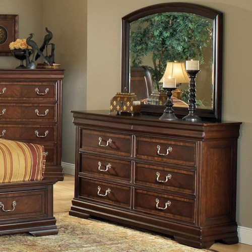 Acme Furniture Hennessy Traditional Six Drawer Dresser and Mirror Set