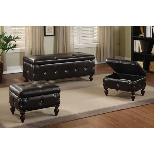 Acme Furniture Ibrahim Bench and Two Ottomans