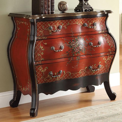 Acme Furniture Iden Cherry Bombay Chest with Painted Floral Design