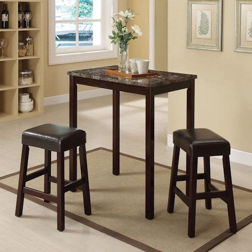 Acme Furniture Idris 3 Piece Counter Height Dining Set with Backless Stools