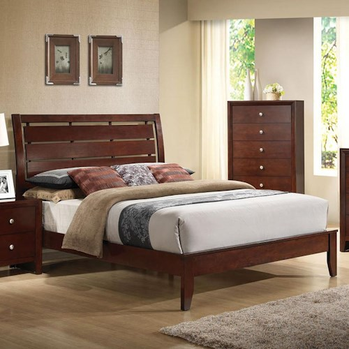 Acme Furniture Ilana Queen Platform Bed with Cut Out Headboard Design