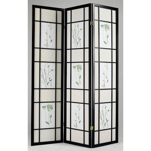 Acme Furniture Iola 3-Panel Wood Screen W/Nature Drawings