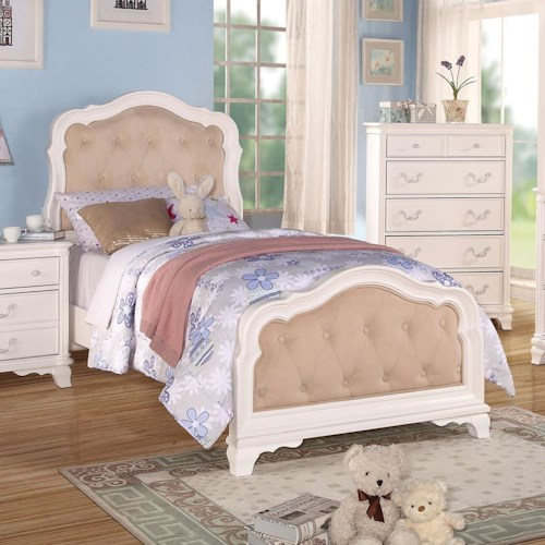 Acme Furniture Ira Youth Twin Bed W/ Button-Tufted Headboard and Footboard