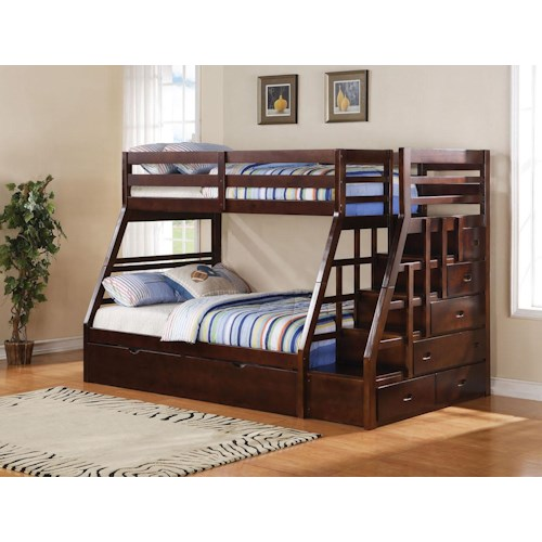 Acme Furniture Jason Twin Over Full Bunkbed W/Trundle & Storage Ladder