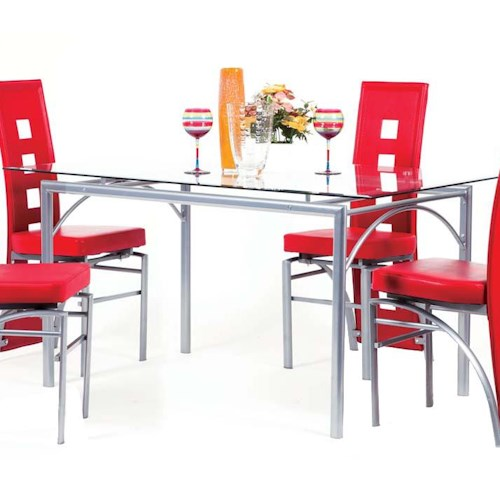 Acme Furniture Kathie Rectangular Metal Dining Table with Glass Top