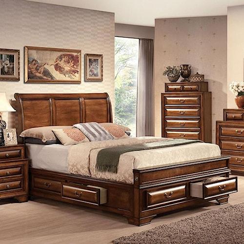 Acme Furniture Konane Traditional Sleigh King Bed W/Drawer Storage