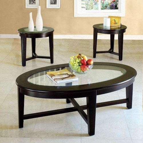Acme Furniture Kort 3 Piece Coffee and End Table Set with Glass Tops