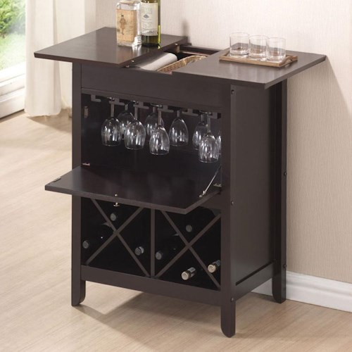 Acme Furniture Leo Wine Bar with Hanging Glass Storage