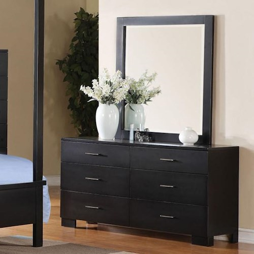 Acme Furniture London Contemporary Dresser and Mirror Combo