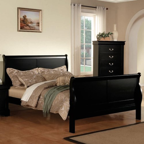 Acme Furniture Louis Philippe III King Transitional Sleigh Bed