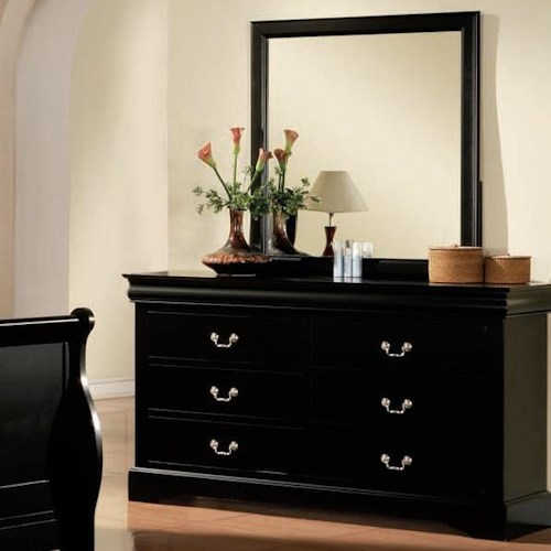 Acme Furniture Louis Philippe III Transitional 6 Drawer Dresser and Mirror