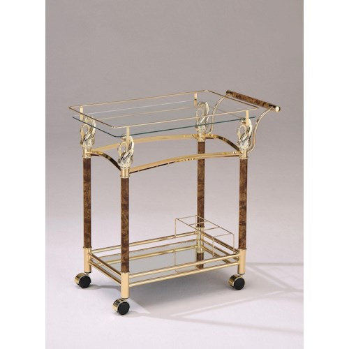 Acme Furniture Mace Gold Serving Cart W/ Clear Glass
