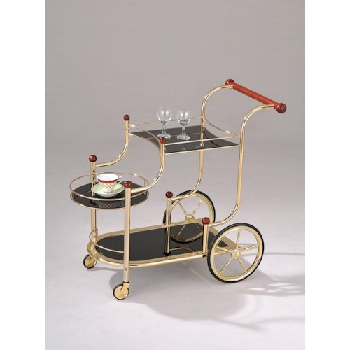 Acme Furniture Mace Gold Serving Cart W/ Black Glass