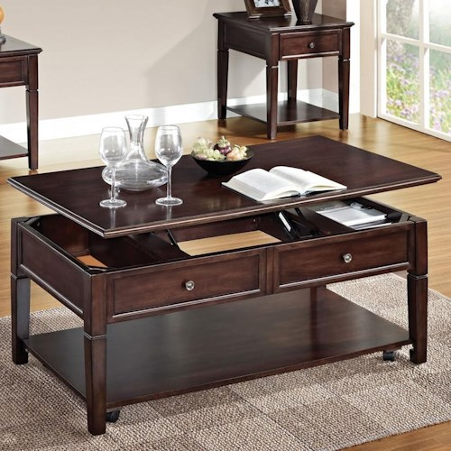 Acme Furniture Malachi Rectangular Lift Top Cocktail Table with Shelf