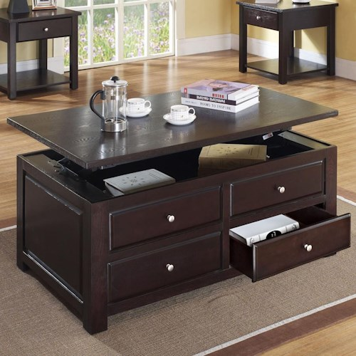 Acme Furniture Malden Contemporary Lift Top Coffee Table with Drawers