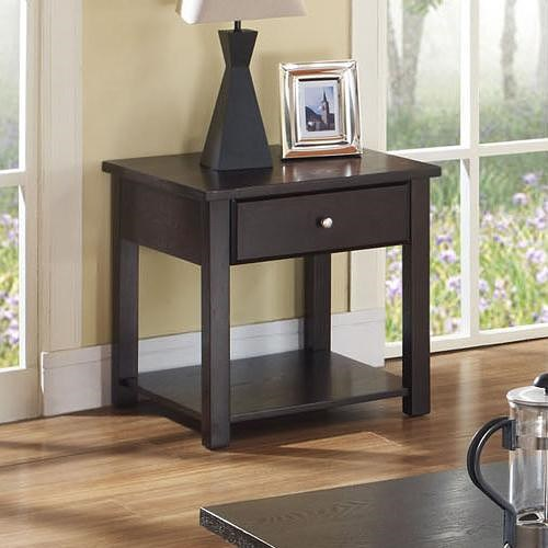 Acme Furniture Malden Contemporary End Table with Drawer and Shelf