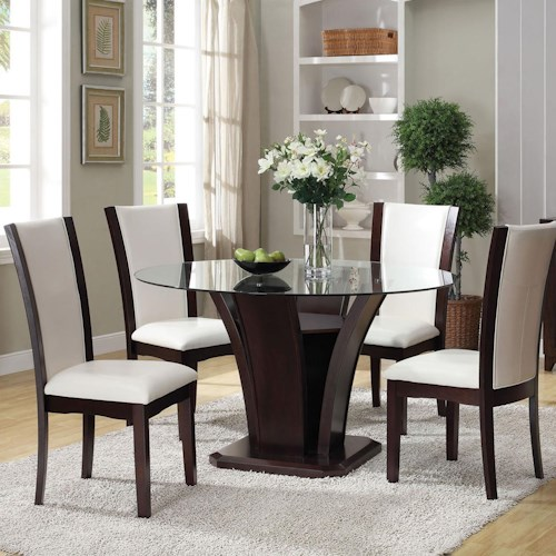 Acme Furniture Malik 5-Piece Dining Round Table and Chair Set