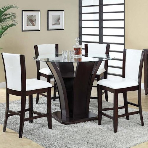 Acme Furniture Malik 5-Piece Round Counter Height Table and Chair Set