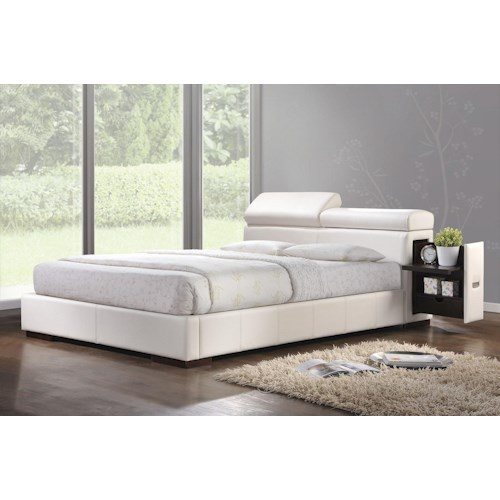 Acme Furniture Manjot Contemporary California King Bed W/ Built-in Nightstand