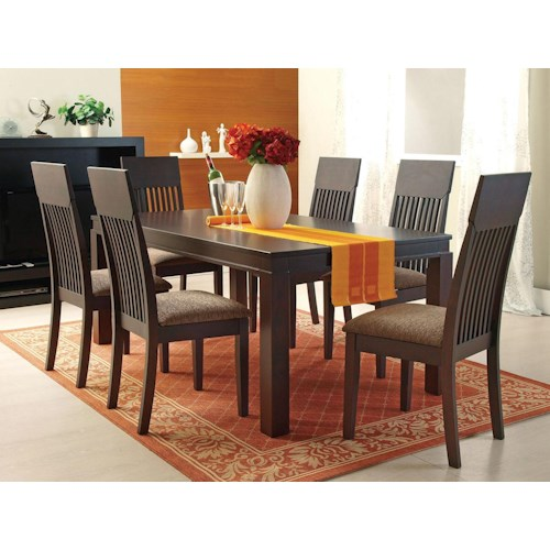 Acme Furniture Medora Casual 7-Piece Mission-Style Dining Table and Chair Set