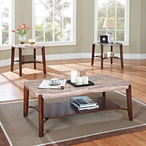 Acme Furniture Nadav Square Faux Marble 3-Piece Coffee/End Tabl