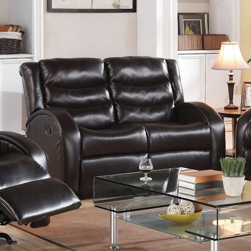 Acme Furniture Noah Reclining Love Seat with Rounded Track Arms and Plush Back