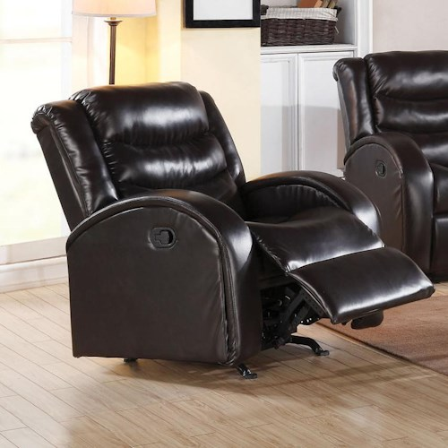 Acme Furniture Noah Rocker Recliner with Rounded Track Arms and Plush Back