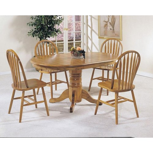 Acme Furniture Nostalgia 5-Piece Casual Dining Pedestal Table and Windsor Dining Chairs