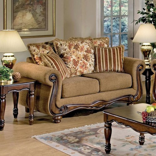 Acme Furniture Olysseus Stationary Loveseat with Loose Pillow Back