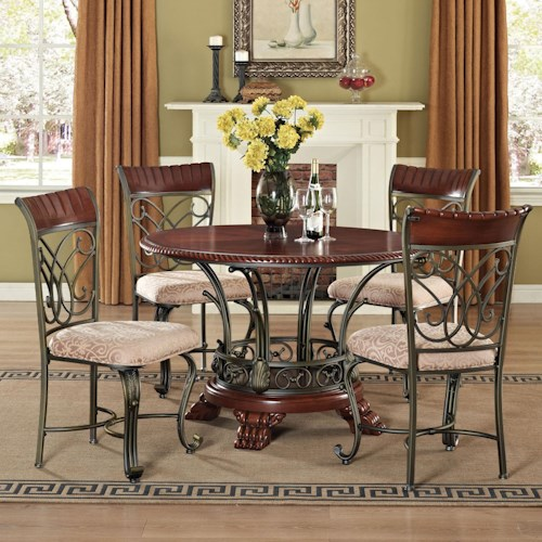 Acme Furniture Omari Traditional Five Piece Round Table and Lattice-Backed Side Chair Set