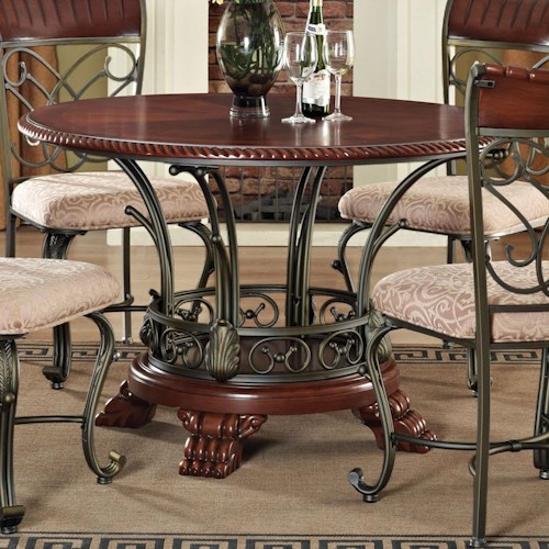 Acme Furniture Omari Traditional Round Pedestal Table with Metal Scrollwork