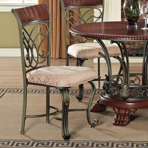 Acme Furniture Omari Traditional Lattice-Backed Dining Side Chair with Metal Cabriole Legs