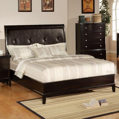 Acme Furniture Oxford King Bed with Button Tufted Headboard