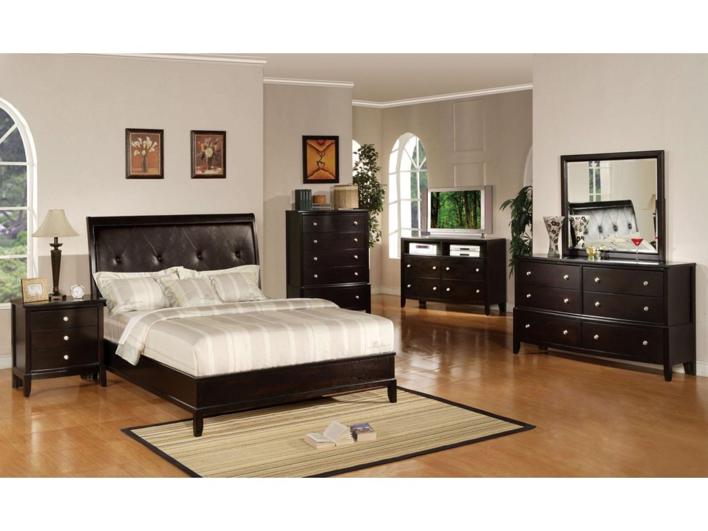 Shown with Nightstand, Bed, TV Console, Dresser, and Mirror