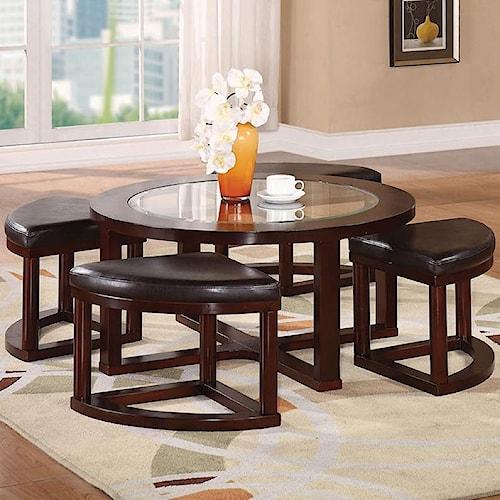 Acme Furniture Patia 5-Piece Coffee Table & Ottomans