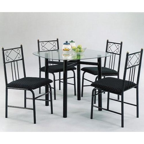 Acme Furniture Penelope 5-Piece Dinette with Clear Glass Table Top