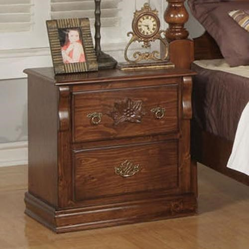 Acme Furniture Ponderosa Traditional Two Drawer Nightstand with Carved Rosette