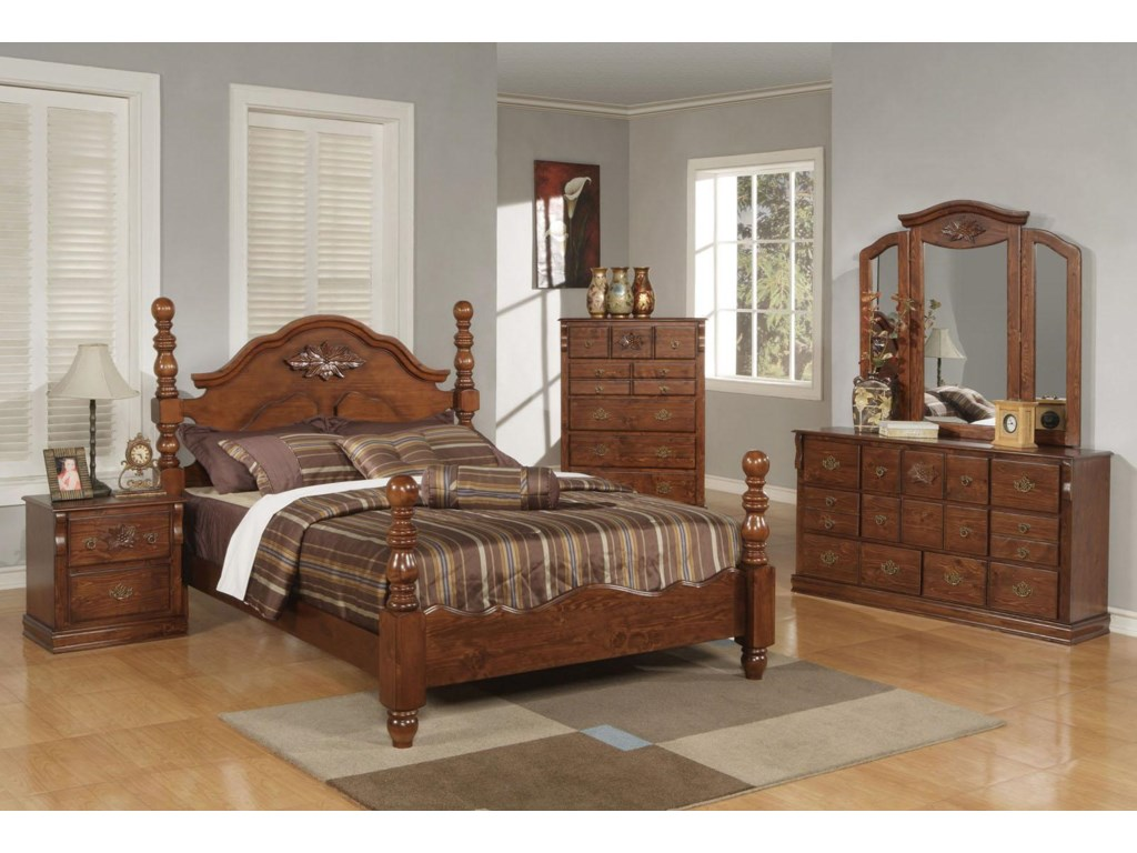 Shown with Bed, Chest of Drawers, Dresser, and Mirror
