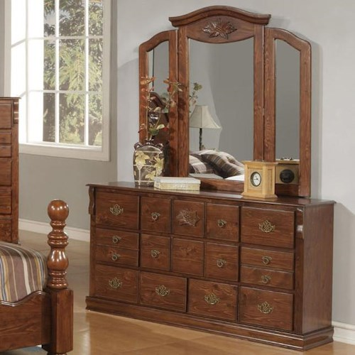 Acme Furniture Ponderosa Traditional Fourteen Drawer Dresser & Mirror Set