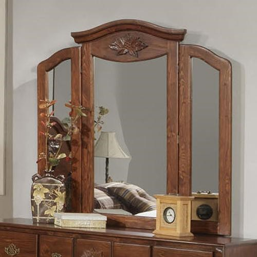 Acme Furniture Ponderosa Tri-Fold Mirror with Crown Moulding