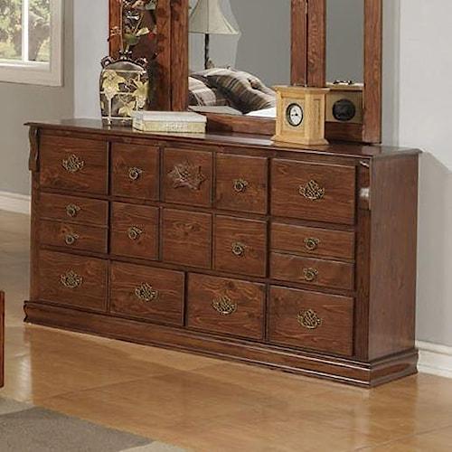 Acme Furniture Ponderosa Traditional Fourteen Drawer Dresser