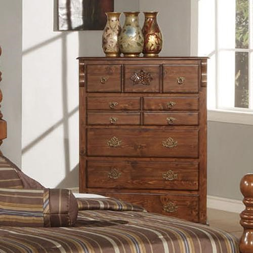 Acme Furniture Ponderosa Traditional Seven Drawer Chest with Carved Rosette