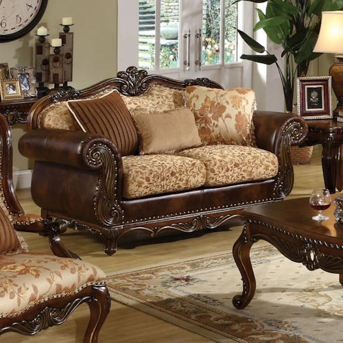 Acme Furniture Remington  Traditional Stationary Loveseat W/3 Pillows