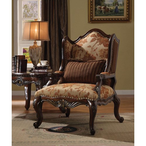 Acme Furniture Remington  Traditional Floral Chair W/1 Pillow